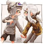 !? 1boy 1girl bandana bangs black_bandana black_border black_shorts blunt_bangs blush bobblehat border brown_jacket camouflage_jacket commentary cropped_legs domino_mask flying_sweatdrops goggles goggles_on_headwear grey_hair grey_headwear grey_pants grey_shirt harutarou_(orion_3boshi) hetero holding_hands hood hoodie jacket leaning_forward logo mask outside_border pants pointy_ears shirt shorts ski_goggles splatoon_(series) splatoon_2 spoken_interrobang sweatdrop tentacle_hair yellow_eyes