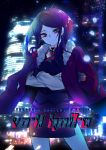 1girl absurdres artist_request bartender city city_lights cityscape copyright_name crossover cyberpunk english_text highres jill_stingray night purple_hair red_eyes smile solo va-11_hall-a
