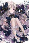 1girl aoi_yugina bandaged_leg bandages bangs black_bow black_flower black_neckwear black_rose blue_dress blue_eyes blue_flower blue_footwear blue_rose bow cross cross_earrings crying dress earrings eyebrows_visible_through_hair floating_hair flower green_flower green_rose hair_bow hair_flower hair_ornament heterochromia highres jewelry lolita_fashion long_hair long_sleeves mary_janes open_mouth original purple_flower red_eyes rose shiny shiny_hair shoes short_dress silver_hair socks solo tears very_long_hair white_background white_legwear