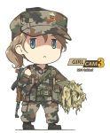 1girl :< assault_rifle black_footwear blue_eyes boots brown_hair camouflage gun hat highres military military_uniform original rifle slovenia tantu_(tc1995) uniform weapon white_background