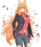 1girl animal_ears black_jacket denim fate/grand_order fate_(series) fox_ears fox_tail glasses hand_in_pocket heroic_spirit_traveling_outfit jacket jeans long_hair nail_polish navel orange_eyes orange_hair pants purutera suzuka_gozen_(fate) tail torn_clothes torn_jeans torn_pants