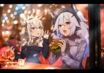 2girls animal_ears ayanami_(azur_lane) azur_lane bangs bare_shoulders black_dress black_headwear black_ribbon black_skirt blurry blurry_background brown_eyes character_name commentary_request cup depth_of_field double_bun dress drinking_glass eyebrows_visible_through_hair food hair_between_eyes hair_ornament hair_ribbon hairclip hamburger headgear holding holding_food karinto_yamada laffey_(azur_lane) letterboxed light_brown_hair long_hair long_sleeves looking_at_viewer multiple_girls off-shoulder_dress off_shoulder open_mouth purple_shirt rabbit_ears red_eyes red_ribbon ribbon shirt silver_hair sitting skirt sleeves_past_wrists table twintails wine_glass