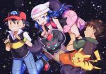 :d baseball_cap black_gloves black_hair black_shirt blue_eyes blue_hair brown_pants character_request closed_eyes collarbone collared_shirt fingerless_gloves floating_hair gen_1_pokemon gloves green_shirt grin hat highres hikari_(pokemon) long_hair miniskirt open_mouth pants pikachu pink_scarf pink_skirt poke_ball_print pokemon pokemon_(anime) print_hat red_eyes red_headwear satoshi_(pokemon) scarf shiny shiny_hair shirt short_sleeves skirt sleeveless sleeveless_shirt smile spiky_hair takeshi_(pokemon) torn_clothes torn_pants white_headwear white_shirt wing_collar yuki56