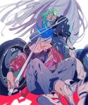 2boys blue_eyes blue_hair casual chin_rest cravat felicia_chen galo_thymos green_hair ground_vehicle indian_style jacket leather leather_jacket lio_fotia male_focus matoi motor_vehicle motorcycle multiple_boys promare red_jacket shoes sitting sneakers violet_eyes