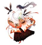 1girl alternate_costume animal_print bird bishoujo_senshi_sailor_moon black_hair chinese_clothes closed_eyes crow earrings flame_print hanfu high_heels hino_rei jewelry lips long_hair nail_polish pleated_skirt red_footwear riku_(lingsky) skirt solo