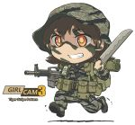 1girl assault_rifle belt boots brown_hair camouflage facepaint grin gun hat m16 machete military military_uniform original pouch red_eyes rifle running smile tantu_(tc1995) teeth uniform utility_belt weapon
