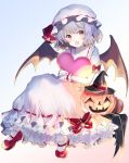 1girl bat_wings black_headwear blue_hair bobby_socks bow cute dress fang halloween happiness_lilys hat hat_ribbon heart looking_at_viewer mary_janes mob_cap moe object_hug open_mouth pink_headwear pumpkin red_eyes red_footwear remilia_scarlet ribbon shoes short_hair simple_background socks solo team_shanghai_alice touhou vampire white_dress wings witch_hat wrist_cuffs wristband