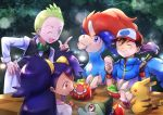 1girl 2boys :d ;d apron baseball_cap black_gloves black_hair blue_eyes blue_hair blue_jacket blurry blurry_background character_request closed_eyes collared_shirt dent_(pokemon) eating fingerless_gloves food gen_5_pokemon gloves green_eyes green_hair green_neckwear hand_on_hip hat highres holding holding_food index_finger_raised iris_(pokemon) jacket keldeo leaning_forward long_hair long_sleeves multiple_boys one_eye_closed open_mouth orange_eyes pikachu poke_ball_print pokemon_(creature) pokemon_m15 print_hat red_eyes sandwich satoshi_(pokemon) shirt short_hair short_sleeves sitting smile twintails very_long_hair very_short_hair waist_apron white_apron white_shirt wing_collar yuki56 zipper
