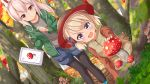 2girls ame. ayanami_(azur_lane) azur_lane bangs basket black_legwear blue_footwear blue_shorts blush boots brown_eyes brown_shirt brown_vest commentary_request day eyebrows_visible_through_hair fly_agaric forest green_jacket grey_shirt hair_between_eyes headgear highres holding jacket legwear_under_shorts light_brown_hair long_hair multiple_girls mushroom nature open_clothes open_jacket open_mouth outdoors pantyhose parted_lips pointy_ears ponytail shirt short_shorts shorts standing tree vest violet_eyes z23_(azur_lane)