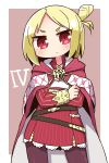 1girl 7th_dragon_(series) 7th_dragon_iii bangs blonde_hair blush brown_background brown_legwear cape closed_mouth commentary_request emel_(7th_dragon) high-waist_skirt highres long_sleeves looking_at_viewer multicolored multicolored_cape multicolored_clothes naga_u one_side_up pantyhose parted_bangs red_cape red_eyes red_skirt shirt skirt solo striped two-tone_background v-shaped_eyebrows vertical-striped_skirt vertical_stripes white_background white_cape white_shirt