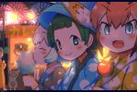 1boy 2girls :3 aerial_fireworks artist_name blue_eyes blurry blurry_background blush candy_apple caracal_(kemono_friends) character_request closed_eyes cotton_candy eating eyebrows_visible_through_hair fang fireworks food from_side green_hair hat highres japanese_clothes kemono_friends kimono kyururu_(kemono_friends) lantern letterboxed looking_at_viewer mask multiple_girls night orange_hair paper_lantern rakugakiraid short_hair smile stall summer summer_festival upper_body white_hair yukata