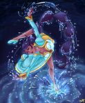 1girl aqua_dress aqua_footwear artist_name black_hair breasts chaibee closed_mouth commentary dancing dark_skin dress earrings english_commentary full_body highres indivisible jewelry leg_up long_dress long_hair looking_at_viewer medium_breasts signature smile solo splashing standing standing_on_one_leg thorani_(indivisible) very_long_hair violet_eyes water