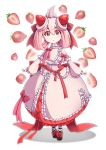 1girl 9-san absurdres alcremie black_footwear commentary dress folded_ponytail food food_on_hair fruit full_body highres long_hair mixed-language_commentary oversized_food personification pink_dress pink_hair pokemon pokemon_(game) pokemon_swsh red_eyes ribbon shoes solo strawberry strawberry_background