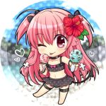 1girl ;p angel_beats! bangs barefoot bikini bikini_skirt black_bikini black_bow black_skirt blurry blurry_background bow chibi choker collarbone eyebrows_visible_through_hair flat_chest flower food full_body hair_between_eyes hair_bow heart hibiscus holding holding_food ice_cream long_hair nakamura_hinato one_eye_closed pink_hair polka_dot polka_dot_background polka_dot_bikini polka_dot_bow polka_dot_skirt red_bow red_eyes redhead shiny shiny_hair skirt solo standing standing_on_one_leg swimsuit thigh_strap tongue tongue_out two_side_up very_long_hair white_background yui_(angel_beats!)
