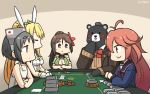 1other 4girls :3 ahoge amagi_(kantai_collection) animal_ears artoria_pendragon_(all) artoria_pendragon_(swimsuit_ruler)_(fate) bangs bear black_hair blonde_hair blue_neckwear blush breasts brown_eyes brown_hair bunny_hair_ornament bunnysuit card casino_card_table cleavage_cutout commentary_request crossed_arms dated detached_collar diving_mask diving_mask_on_head eyebrows_visible_through_hair fate_(series) flower hair_between_eyes hair_flower hair_ornament hair_ribbon hairclip hamu_koutarou high_ponytail highres japanese_flag kantai_collection kumano_(kantai_collection) large_breasts leotard long_hair looking_down maru-yu_(kantai_collection) mole multiple_girls navel navel_cutout parted_bangs pink_eyes pink_hair playing_card poker_table ponytail rabbit_ears remodel_(kantai_collection) ribbon school_swimsuit school_uniform serafuku serious short_hair sidelocks signature sitting swimsuit table uzuki_(kantai_collection) white_leotard white_swimsuit wide_ponytail wrist_cuffs