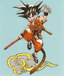 1boy :d anniversary artist_name backlighting black_eyes black_footwear black_hair blue_background clenched_hand clothes_writing commentary copyright_name dougi dragon_ball dragon_ball_(classic) english_commentary fighting_stance fingernails flying_nimbus full_body happy highres holding jumping katsura_masakazu looking_at_viewer male_focus monkey_tail nyoibo open_mouth simple_background smile son_gokuu spiky_hair tail teeth upper_teeth v-shaped_eyebrows wristband