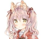 1girl ahoge alternate_hairstyle animal_ear_fluff animal_ears bangs blush brown_eyes capelet closed_mouth commentary_request eyebrows_visible_through_hair hair_between_eyes hair_ribbon hand_up hood hood_down hooded_capelet long_hair looking_at_viewer original pink_hair red_capelet red_ribbon ribbon simple_background solo twintails upper_body wataame27 wavy_mouth white_background wolf-chan_(wataame27) wolf_ears