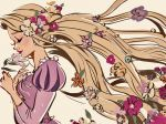 1girl beige_background blonde_hair blue_flower blush breasts closed_eyes commentary_request dress expressionless eyelashes floating_hair flower from_side gori_matsu hair_flower hair_ornament hands_on_own_chest highres holding holding_flower light_smile lips lipstick long_hair long_sleeves makeup medium_breasts orange_flower pink_flower profile puffy_short_sleeves puffy_sleeves purple_dress purple_flower rapunzel_(disney) short_sleeves simple_background solo tangled upper_body very_long_hair white_flower yellow_flower