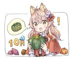 ! 1girl :o ahoge animal animal_ear_fluff animal_ears bangs bird blue_flower bluebird bow brown_eyes capelet chestnut commentary_request eyebrows_visible_through_hair fang flower food hair_between_eyes hair_bow hair_flower hair_ornament hands_up holding holding_food hood hood_down hooded_capelet jack-o'-lantern long_hair long_sleeves open_mouth original pink_flower pink_hair pumpkin red_bow red_capelet shirt solo sweet_potato thought_bubble upper_body wataame27 white_background white_shirt wolf-chan_(wataame27) wolf_ears