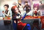 2girls 3boys announ_(kurotya) apron blonde_hair blue_eyes blue_gloves blue_legwear blush breasts brown_hair brown_legwear cake chair crossed_legs cup drink elbow_gloves fate/grand_order fate_(series) food fork fujimaru_ritsuka_(male) gloves goldorf_musik green_eyes hair_over_one_eye highres indoors leonardo_da_vinci_(fate/grand_order) long_hair long_sleeves looking_at_viewer mash_kyrielight multiple_boys multiple_girls necktie pancake pantyhose pipe puffy_short_sleeves puffy_sleeves purple_hair red_eyes red_neckwear salad sherlock_holmes_(fate/grand_order) short_sleeves slice_of_cake small_breasts smile standing table tablecloth teacup tray viewfinder white_gloves