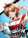 1girl ball blue_background blush brown_eyes brown_hair english_text holding holding_ball index_finger_raised jersey looking_at_viewer nishinomiya_sakuko original rugby rugby_world_cup shirt short_hair short_sleeves smile solo standing striped striped_shirt sweatdrop upper_body