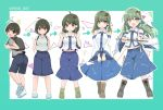 1girl age_progression ahoge ass backpack bag bare_shoulders blush boots breasts brown_hair clenched_hands commentary_request detached_sleeves directional_arrow frog_hair_ornament genderswap gohei green_hair hair_ornament hair_tubes highres kochiya_sanae large_breasts loafers long_hair looking_at_viewer medium_breasts navel open_mouth ougi_hina shoes short_hair skirt smile snake_hair_ornament tadpole touhou yellow_eyes