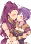 2girls bernadetta_von_varley blush bracelet closed_eyes closed_mouth dress earrings facial_mark fire_emblem fire_emblem:_three_houses gloves heart jewelry kvlen long_hair multiple_girls petra_macneary ponytail purple_hair short_hair simple_background upper_body white_background yuri