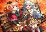 +_+ 2girls :d animal autumn_leaves azur_lane bangs bench beret black_bow black_ribbon black_sweater blonde_hair blue_bow blurry blurry_foreground blush book bow brown_dress brown_legwear capelet character_request collared_dress commentary_request depth_of_field dress eyebrows_visible_through_hair frilled_dress frilled_legwear frills fur-trimmed_capelet fur_hat fur_trim graf_zeppelin_(azur_lane) hair_between_eyes hair_ribbon hand_up hat highres holding holding_animal kasaran kneehighs layered_skirt leaf long_hair long_sleeves maple_leaf multiple_girls on_bench open_book open_mouth park_bench pleated_skirt red_capelet red_eyes red_headwear ribbed_sweater ribbon short_hair silver_hair sitting_on_bench skirt smile squirrel sweater thigh-highs upper_teeth very_long_hair violet_eyes white_headwear white_legwear yellow_skirt zeppelin-chan_(azur_lane)