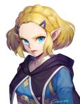 1girl bangs black_cape blonde_hair blue_eyes braid cape commentary_request crown_braid forehead gamza hair_ornament hairclip hood hood_down hooded_cape korean_commentary lips parted_bangs pointy_ears portrait princess_zelda short_hair signature solo the_legend_of_zelda the_legend_of_zelda:_breath_of_the_wild the_legend_of_zelda:_breath_of_the_wild_2 thick_eyebrows