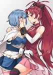 2girls arm_around_shoulder bare_shoulders black_legwear blue_eyes blue_hair blue_skirt blush bow cape collar detached_sleeves eye_contact frilled_shirt frills gebyy-terar gloves hair_bow high_ponytail long_hair looking_at_another magical_girl mahou_shoujo_madoka_magica midriff_peek miki_sayaka multiple_girls pink_skirt pleated_skirt red_eyes redhead sakura_kyouko shirt short_hair skirt soul_gem strapless_shirt tears thigh-highs white_cape white_gloves wiping_tears yuri