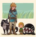 2boys animal belt blonde_hair blue_eyes boots brown_footwear brown_gloves chain_chomp cloak earrings expressionless fangs fingerless_gloves gloves grass highres hood hood_down hooded_cloak jewelry link link_(wolf) looking_at_another low_ponytail lulu_7825 multiple_boys multiple_persona pointy_ears standing strap the_legend_of_zelda the_legend_of_zelda:_breath_of_the_wild the_legend_of_zelda:_link's_awakening the_legend_of_zelda:_twilight_princess wolf