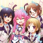 4girls angel_beats! beige_background black_hair blazer blue_eyes brown_eyes brown_hair closed_eyes commentary_request double_v extra fang glasses grin jacket long_hair looking_at_viewer monochrome multiple_girls nakamura_hinato one_eye_closed open_mouth pink_hair red_eyes school_uniform serafuku shinda_sekai_sensen_uniform smile two_side_up v yui_(angel_beats!)