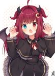 1girl ahoge bangs black_capelet black_dress blue_eyes blush bow brown_wings capelet claw_pose crescent crescent_hair_ornament demon_girl demon_horns demon_wings dress eyebrows_visible_through_hair fang frilled_dress frilled_sleeves frills hair_intakes hair_ornament hands_up heterochromia horns long_hair long_sleeves looking_at_viewer neck_ribbon nijisanji omuretsu open_mouth polka_dot polka_dot_background red_bow red_eyes red_ribbon redhead ribbon signature solo two_side_up very_long_hair virtual_youtuber white_background wings yuzuki_roa