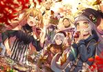 >_< 4girls :d :i admiral_hipper_(azur_lane) ahoge animal arm_up arms_up autumn autumn_leaves azur_lane bangs barbecue basket beanie beret bird black_dress black_footwear black_headwear black_ribbon blonde_hair blue_coat blurry blurry_foreground blush breasts brown_headwear brown_pants brown_skirt brown_sweater cat chain chestnut chick closed_eyes closed_mouth commentary_request day depth_of_field dress eating eyebrows_visible_through_hair food food_on_face glint green_eyes hair_between_eyes hair_ribbon hand_on_headwear hand_on_hip hat holding holding_basket holding_food hood hood_down hooded_coat jewelry loafers long_hair long_sleeves meat meowfficer_(azur_lane) military_hat multiple_girls open_mouth outdoors pants parted_lips peaked_cap pendant rabbit renka_(renkas) ribbon shoes silver_hair skirt small_breasts smile standing striped striped_legwear sweater sweet_potato thigh-highs tirpitz_(azur_lane) tree two_side_up vertical_stripes very_long_hair violet_eyes white_headwear xd yakiimo yellow_eyes z36_(azur_lane) z46_(azur_lane)