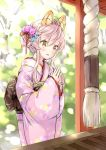 1girl :d animal_ear_fluff animal_ears bangs blue_flower blush brown_eyes commentary_request eyebrows_visible_through_hair floral_print flower hair_between_eyes hair_bun hair_flower hair_ornament hair_ribbon hands_together hands_up hatsumoude japanese_clothes kimono long_hair long_sleeves obi open_mouth original own_hands_together pink_flower pink_hair pink_kimono print_kimono red_ribbon ribbon sash sidelocks sleeves_past_wrists smile solo wataame27 wide_sleeves wolf-chan_(wataame27) wolf_ears