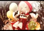 1girl :d baguette balloon bangs basket black_ribbon bottle bow braid bread breasts cape commentary_request dress_shirt fate/grand_order fate_(series) food grey_eyes hands_up hood hood_up hooded_cape letterboxed long_hair looking_at_viewer marie_antoinette_(fate/grand_order) open_mouth pleated_skirt puffy_short_sleeves puffy_sleeves red_bow red_cape red_skirt ribbon shirt short_sleeves silver_hair skirt small_breasts smile solo very_long_hair white_shirt yuzuyomogi