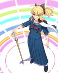 >:( 1girl artoria_pendragon_(all) bangs black_bow black_footwear blonde_hair blue_sailor_collar blue_shirt blue_skirt bow closed_mouth commentary_request eyebrows_visible_through_hair fateline_alpha full_body green_eyes hair_bow highres jacket jacket_on_shoulders loafers long_hair long_skirt long_sleeves looking_at_viewer neckerchief pleated_skirt ponytail red_neckwear saber sailor_collar school_uniform serafuku serious shadow shirt shoes sidelocks skirt solo standing sukeban sword weapon white_jacket wooden_sword
