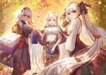 3girls :d absurdres alternate_costume autumn_leaves azur_lane bag belfast_(azur_lane) black_capelet blouse breasts capelet cardigan casual commentary_request cup dolce_(dolsuke) dress drinking drinking_straw formidable_(azur_lane) hair_ribbon handbag highres holding holding_cup huge_filesize large_breasts licking_lips long_hair long_skirt looking_at_viewer multiple_girls open_cardigan open_clothes open_mouth plaid plaid_dress plaid_skirt red_eyes ribbon shopping_bag short_hair silver_hair sirius_(azur_lane) skirt sleeveless sleeveless_blouse sleeveless_dress smile tongue tongue_out twintails very_long_hair violet_eyes white_blouse