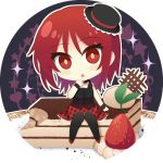 1girl :o angel_beats! argyle_skirt black_jacket black_legwear blush cake chibi choker eyebrows_visible_through_hair food full_body hair_between_eyes iwasawa jacket looking_at_viewer miniskirt nakamura_hinato pumps red_eyes red_footwear red_skirt redhead short_hair sitting skirt sleeveless sleeveless_jacket solo white_background wristband