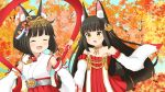 2girls :d ^_^ animal_ear_fluff animal_ears autumn_leaves azur_lane bangs bare_shoulders black_hair blunt_bangs blush brown_eyes closed_eyes collarbone commentary_request detached_sleeves dress eyebrows_visible_through_hair fox_ears hair_ornament holding_hands japanese_clothes kimono long_hair long_sleeves miicha multiple_girls mutsu_(azur_lane) nagato_(azur_lane) open_mouth pleated_dress pleated_skirt red_dress red_skirt ribbon-trimmed_sleeves ribbon_trim skirt sleeveless sleeveless_kimono sleeves_past_wrists smile strapless strapless_dress very_long_hair white_kimono white_sleeves wide_sleeves