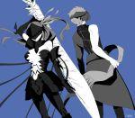 1boy 1girl archer archer_(cosplay) armor back-to-back bangs berserker_(fate/zero) berserker_(fate/zero)_(cosplay) blue_background breasts cosplay covered_eyes cuffs emiya_shirou emiya_shirou_(prisma_illya) fate/kaleid_liner_prisma_illya fate/stay_night fate_(series) field_of_blades gauntlets hair_ribbon headband igote jacket kanshou_&_bakuya large_breasts long_hair long_sleeves mask matou_sakura oreh-stl purple_hair raglan_sleeves red_headband red_ribbon redhead ribbon shackles sword violet_eyes weapon