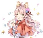 1girl ;d ahoge animal_ear_fluff animal_ears bangs blue_flower blue_rose blush brown_eyes capelet center_frills commentary_request eyebrows_visible_through_hair fang flower frills hair_flower hair_ornament hand_up hood hood_down hooded_capelet long_hair long_sleeves looking_at_viewer looking_to_the_side one_eye_closed open_mouth original petals pink_flower pink_hair pink_rose red_capelet rose shirt simple_background sleeves_past_wrists smile solo upper_body wataame27 white_background white_shirt wolf-chan_(wataame27) wolf_ears yellow_flower