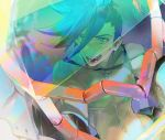 1boy :d blue_hair close-up galo_thymos kibadori_rue male_focus matoi_tech mecha open_mouth promare shirtless smile solo spiky_hair visor