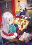 1girl 2boys :q absurdres anastasia_(fate/grand_order) avicebron_(fate) bangs blue_eyes blue_jacket blue_shirt blurry blurry_foreground brown_eyes closed_mouth commentary_request crown cup curtains depth_of_field eyebrows_visible_through_hair fate/grand_order fate_(series) food fork fur-trimmed_jacket fur_trim green_shirt grey_jacket hair_over_one_eye hamada_pochiwo highres holding holding_food huge_filesize ivan_the_terrible_(fate/grand_order) jacket kadoc_zemlupus knife light_brown_hair long_hair long_sleeves looking_at_viewer looking_back mini_crown mug multiple_boys off_shoulder open_clothes open_jacket plate puffy_long_sleeves puffy_sleeves russian_text seat shirt silver_hair sitting sleeves_past_wrists smile snowing table tongue tongue_out translation_request window