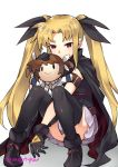1girl arm_belt black_cape black_gloves black_leotard blonde_hair cape character_doll convenient_leg doll_hug fate_testarossa gebyy-terar gloves hair_ribbon leotard lyrical_nanoha mahou_shoujo_lyrical_nanoha petting pleated_skirt red_cape red_eyes ribbon shoes sitting skirt smile takamachi_nanoha thigh-highs twintails white_skirt