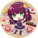 1girl :d angel_beats! armpits bangs black_dress black_gloves black_legwear blush breasts cake chibi crown dress eyebrows_visible_through_hair food fork full_body gloves green_eyes hairband holding holding_fork long_hair medium_breasts mini_crown nakamura_hinato open_mouth outstretched_arm outstretched_hand pleated_dress pumps purple_hair purple_hairband shiny shiny_hair short_dress sleeveless sleeveless_dress smile solo standing thigh-highs white_background white_footwear yuri_(angel_beats!) zettai_ryouiki
