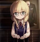 1girl black-framed_eyewear black_jacket blonde_hair blue_vest blurry blurry_background braid breasts closed_mouth collared_shirt commentary_request depth_of_field formal glasses grey_eyes hair_over_shoulder highres jacket long_hair long_sleeves looking_at_viewer necktie original red_neckwear shirt small_breasts smile solo striped suit taharu_kousuke twin_braids vertical-striped_vest vertical_stripes vest white_shirt