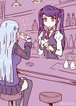 2girls alcohol bar bartender beer beer_mug cleaning cocktail_glass commentary_request cup drinking drinking_glass girls_frontline highres hk416_(girls_frontline) jill_stingray multiple_girls purple_hair rasen_manga red_eyes thigh-highs translation_request va-11_hall-a wine_glass