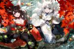2girls akagi_(azur_lane) akagi_(plum_and_snow)_(azur_lane) alternate_costume animal_ears autumn_leaves azur_lane bangs black_kimono blue_eyes blunt_bangs breasts brown_hair eyeliner eyeshadow fox_ears fox_girl fox_mask fox_tail fur-trimmed_kimono fur_trim hachimitsu_hinako highres japanese_clothes kaga_(azur_lane) kaga_(white_fox's_new_year_greetings)_(azur_lane) kimono leaf makeup maple_leaf mask multiple_girls tail white_kimono