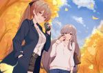 2girls autumn_leaves azur_lane bag belt black_belt black_jacket black_ribbon black_shorts blue_pants blue_sky brown_hair can clouds commentary_request day dunkerque_(azur_lane) grey_hair hair_between_eyes hair_ribbon hand_in_pocket handbag holding holding_can jacket jean_bart_(azur_lane) long_hair multiple_girls open_clothes open_jacket pants ponytail red_eyes ribbon shirt shorts sky sweater tree very_long_hair violet_eyes white_shirt white_sweater yakitori_daisuki